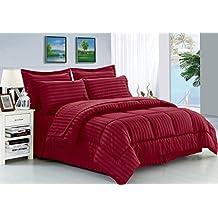 Elegance Linen Wrinkle Resistant - Luxury Silky Soft Dobby Stripe Bed-in-a-Bag 8-Piece Comforter Set --HypoAllergenic - King Burgundy