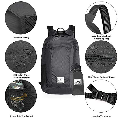 Makryn 24L Hiking Backpack Ultra Lightweight Packable Water Resistant Daypack for Travel Comping Outdoor with Handy Pouch Workout Bag
