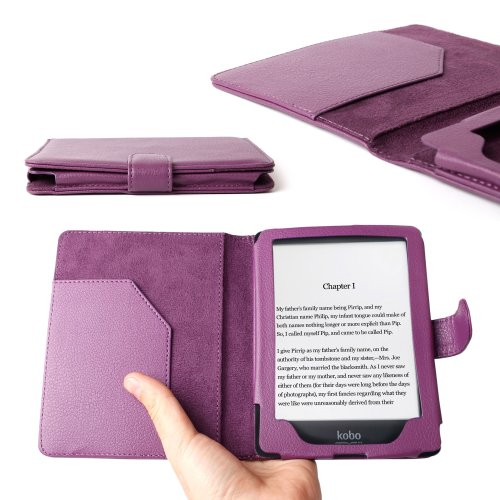 DURAGADGET Stylish Purple PU Leather Book Style Folio Case/Cover with Inner Slip Pocket Custom Designed for The Kobo GLO 6 Inch