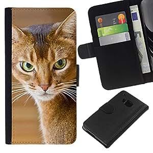All Phone Most Case / Oferta Especial Cáscara Funda de cuero Monedero Cubierta de proteccion Caso / Wallet Case for HTC One M9 // American Shorthair Angry Cat