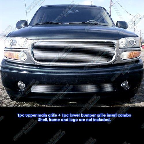 99-06 GMC Yukon/Denali/99-02 Sierra Billet Grille Grill Combo Insert # G61074A - Gmc Sierra Denali Grille Insert