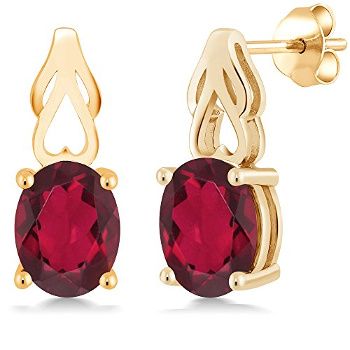 Gem Stone King 3.60 Ct Oval Red Mystic Quartz 18K Yellow Gold Plated Silver Earrings