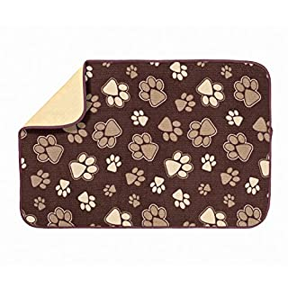 Kitchen Basics 593201 XL Microfiber Pet Bowl Mat, 14 Inch x 21.5 Inch, Brown Paws