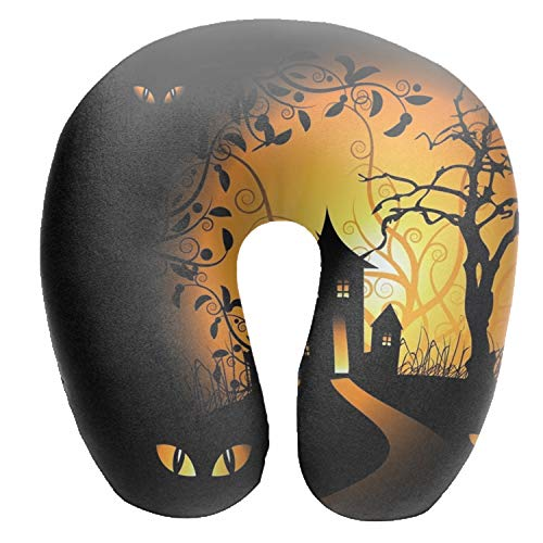 Dimanzo Halloween House Silhouette Print Comfortable U Shaped Cushion Travel Pillow Neck Support On A Train,Airplane,Car,Bus Or While -
