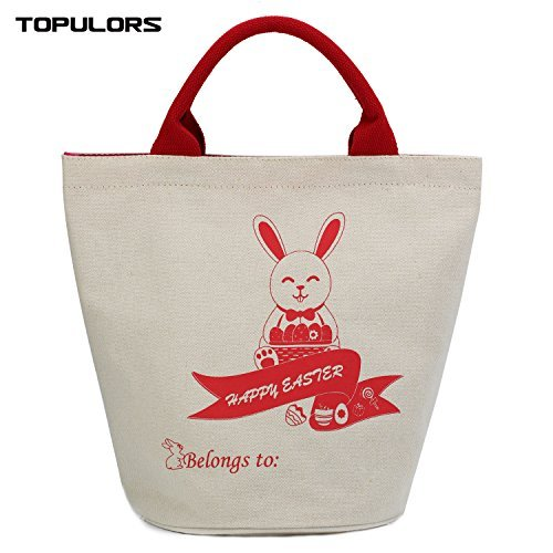 Easter Gift Bag Easter Presents Basket For Kids Easter Bunny Basket Personalizable Easter Eggs Hunts Baskets&Bags for Kids Daily Use Bag Mady By Environmental Canvas-Cylinder Red (Easter Basket Items)