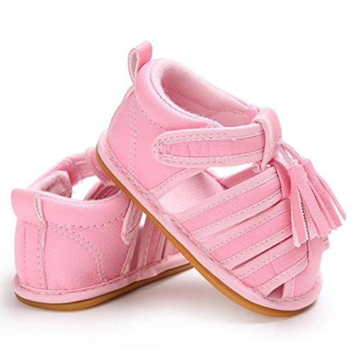 Igemy 1 Paar Baby Kleinkind Sommer Mädchen Jungen Krippe Quasten Schuhe Soft Sole Neugeborenen Anti-Rutsch Turnschuhe Sandalen Rosa