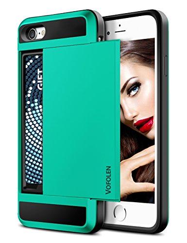 - iPhone 7 Case, Vofolen Sliding Card Holder iPhone 7 Wallet Case Cover Secret ID Slot Rugged Protective Hard Shell Skin Flexible Soft TPU Rubber Hybrid Tough Bumper Armor case for iPhone 7 8 (Green)