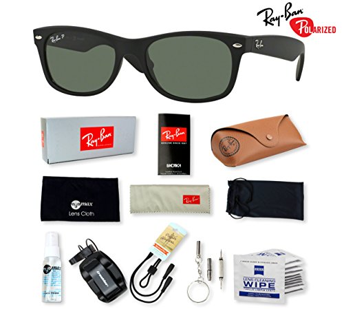 Authentic Ray Ban Sunglasses - RB2132 55 mm (Green Polarized lens Black Rubber-622/58)