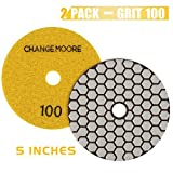 CHANGE MOORE Dry Diamond Polishing Pads 5'' for Marble Granite Travertine Terrazzo Concrete Stones, 2 pack-Grit 100