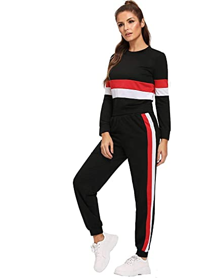 837707918f3402 Shocknshop Red And White Striped Tracksuit Tape Tee & Leggings Pants Set  for Womens (LEG62): Amazon.in: Clothing & Accessories