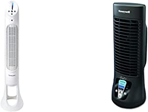 Honeywell Quiet Set Whole Room Tower Fan &QuietSet Mini Tower Table Fan, HTF210B, 1 Pack, Black