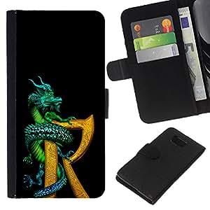 KingStore / Leather Etui en cuir / Samsung ALPHA G850 / Dragón R Carta Negro Oro Fantasía libro