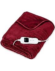 sinnlein® warmtedeken van pluche gecertificeerd door TÜV SÜD GS | elektrische deken met automatische uitschakeling | woondeken | timerfunctie | 9 temperatuurstanden | wasbaar tot 40°C | digitaal display