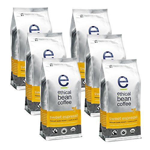 Ethical Bean Coffee Sweet Espresso: Medium Dark Roast Bulk Whole Bean- USDA Certified Organic Coffee, Fair Trade Certified - 12 ounce bag (6 pack)