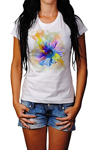 Blume II Damen T- Shirt , Stylisch aus Paul Sinus Aquarell Color