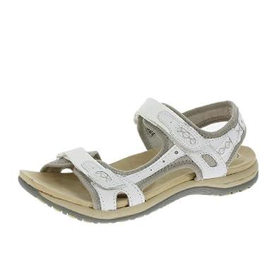 c85bbb10 Earth Spirit Frisco Ladies Suede Touch Fasten Sandals White: Amazon ...