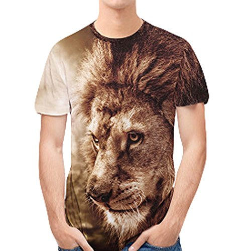 LEXUPA Men's Athletic 3D Animal Printed Slim Short Sleeve Hoodies Sweatshirts (Medium, Coffee)