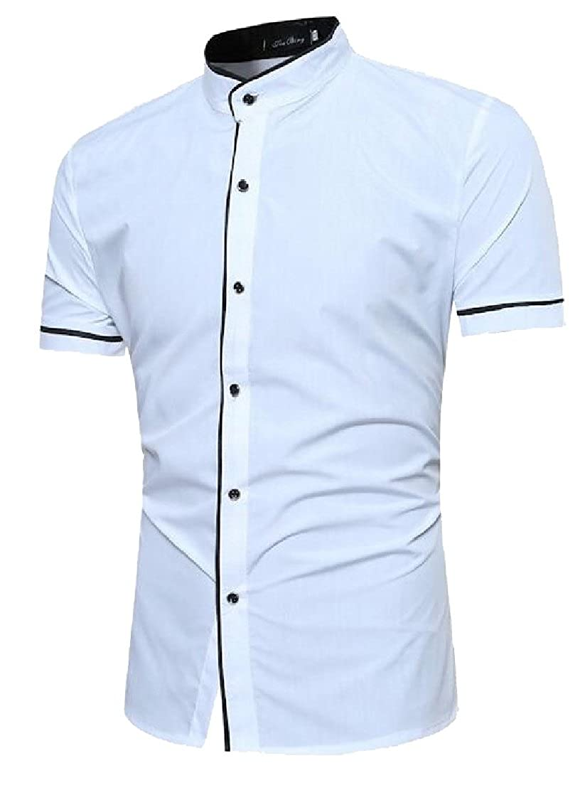 M/&S/&W Men Basic Short Sleeve Stand Collar Button Down Shirts