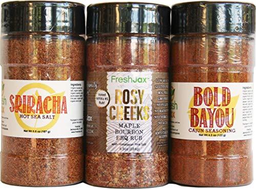 FreshJax Handcrafted Grilling Spice Gift Set for Pork, Sriracha Salt, Rosy Cheeks Rub and Bold Bayou Cajun Seasoning (3 pack) ()
