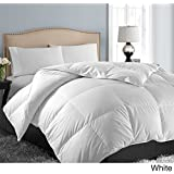 Hotel Grand Oversized Luxury 1000 Thread Count Egyptian Cotton Down Alternative Comforter - High Quality Sleep Mask & Comfortable Pair of Corded Earplugs Included (King, White)