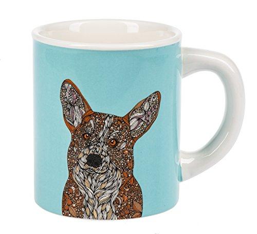 - Ganz Curious Corgi Dog Bright Aqua Blue Dolomite Ceramic 14 Ounce Coffee Mug