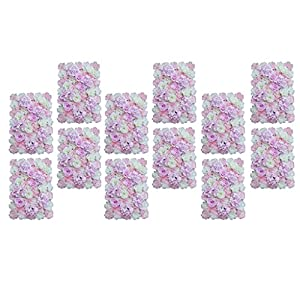 Baoblaze Pack of 12 Upscale Artificial Flower Wall Panel Photo Prop Wedding Stage Backdrop Pink White 3