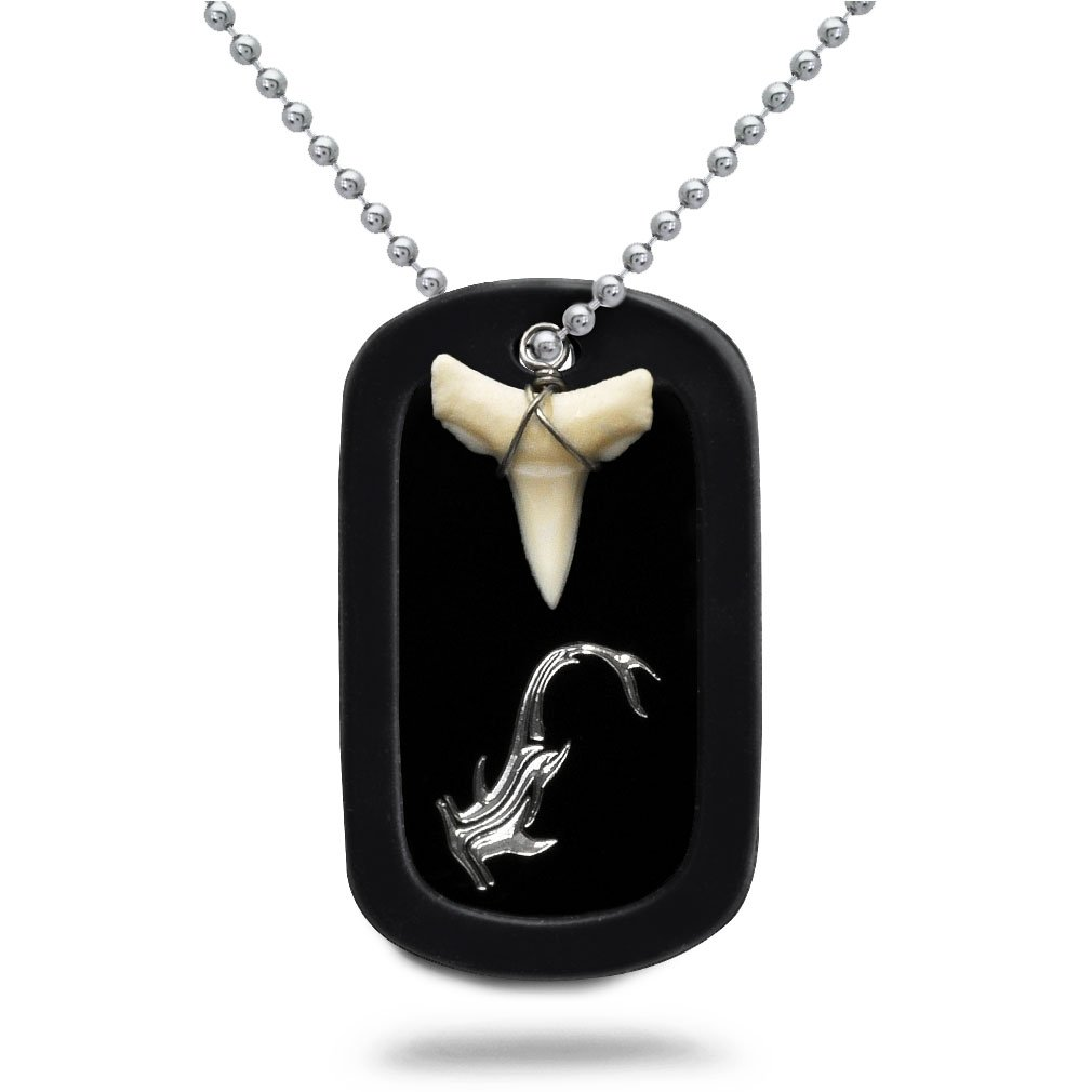 Made in USA Real Shark Tooth Necklace Aluminum Dog Tag with Engraved Hammerhead Shark Design