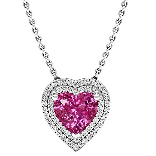 (Dazzlingrock Collection 14K 8 MM Heart Lab Created Pink Sapphire & Round Diamond Heart Double Halo Pendant, White Gold)