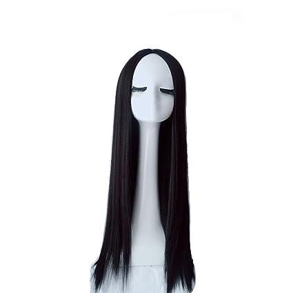 Divida la peluca del flequillo, la Sra. Reina negro peluca de pelo largo y