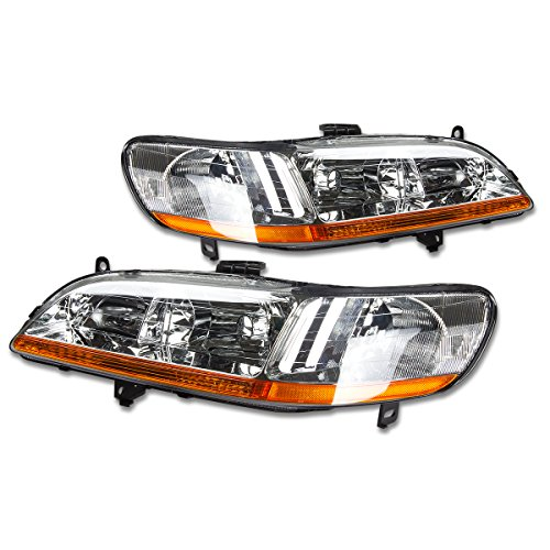DNA Motoring HL-OH-HA98-CH-AB Headlight Assembly, Driver and Passenger (Passenger Side Headlight Assembly Coupe)