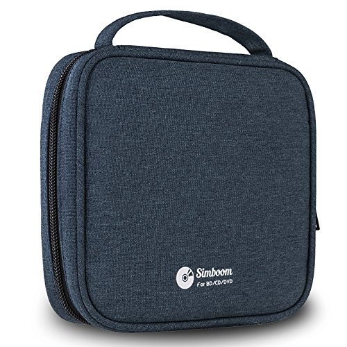 Simboom 32 Capacity CD Wallet Portable Polyester 32 CD/DVD Disc Storage Case Holder Bag for Car, Home, Office and Travel (Dark Blue)