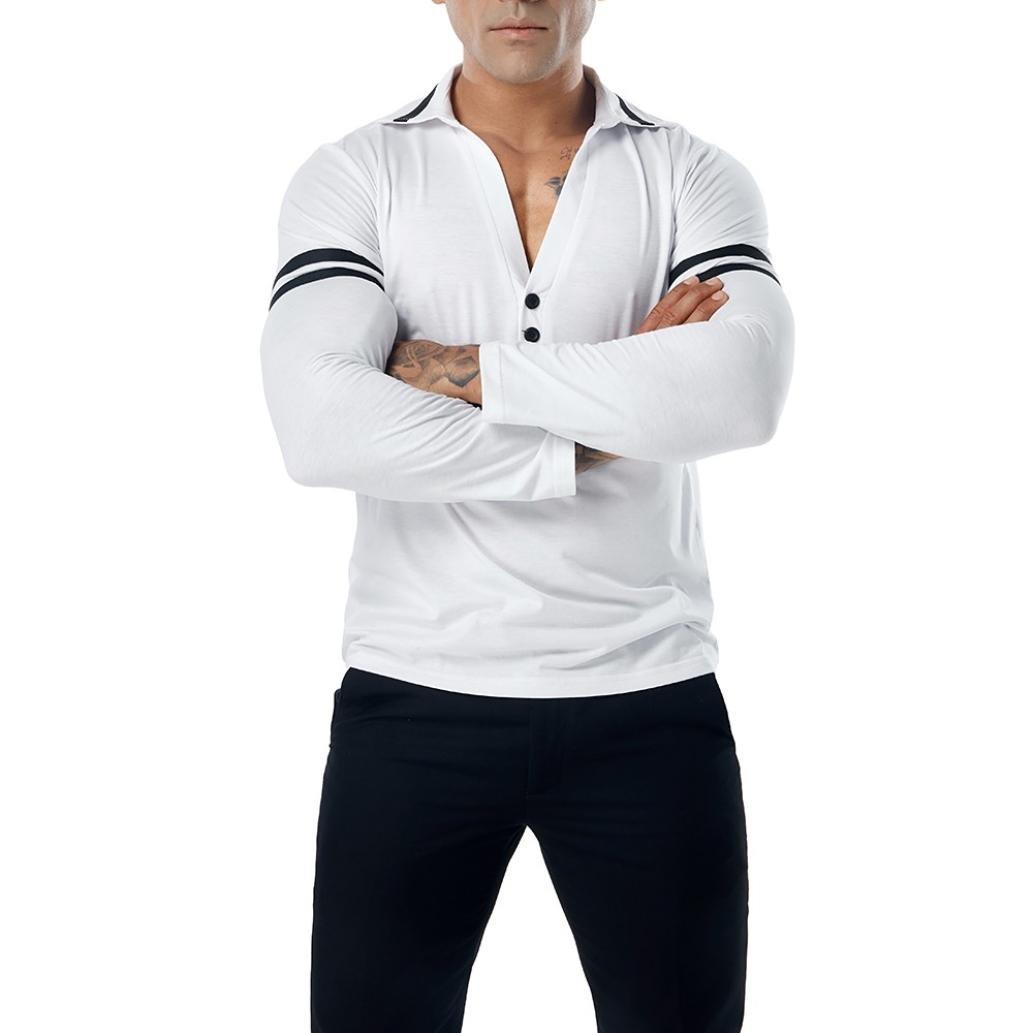 Resplend Camiseta de Manga Larga Delgada con Cuello en V para Hombre Camiseta de Manga Larga con Cuello en Pico de Poloshirt: Amazon.es: Ropa y accesorios