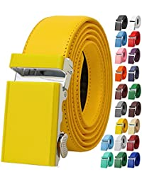 Men Unisex Genuine Leather Ratchet Dress Belt Automatic Sliding Buckle - 20 Variety Colors - Trim to Fit
