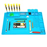 Lifegoo Heat Insulation Silicone Repair Mat with Scale Ruler and Screw Position, Electronics Repair Pad for Soldering Iron, Repair Watch,Phone and Computer Size:17.7 x 11.8 Inches  - Blue