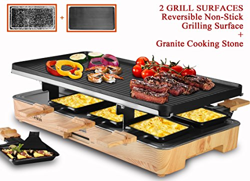 Artestia Electric Raclette Grill with Two Full Size Plates (Non-Stick Reversible Aluminum and Granite Grill Stone), Serve the whole family (Wood Pattern Full Size Stone/Aluminum Raclette)
