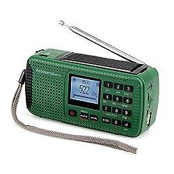 Retekess HR11S Emergency Radio with AM FM Shortwave Radio Camping Dynamo Radio Solar Outdoor Wind Up with SOS Flashlight Wireless MP3 Player Speaker and Recorder Alarm Clock DSP(Green)