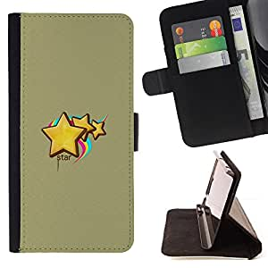 For HTC One M7 - Cute Stars & Rainbow /Funda de piel cubierta de la carpeta Foilo con cierre magn???¡¯????tico/ - Super Marley Shop -