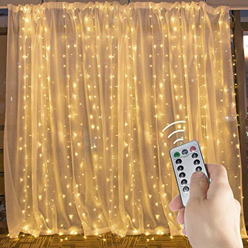 (10 Ft. LED Window Curtain Icicle Lights with Remote & Timer, 300-LED Fairy Twinkle String Lights with 8 Modes Fits for Bedroom Wedding Party Backdrop Outdoor Indoor Wall Decoration, Warm White)