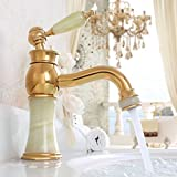 Ohcde Dheark Bathroom Luxury Gold Brass Jade Hot And Cold Water Tap Golden European Basin Faucet Sink Mixer Tap Faucet