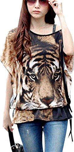 Ladies Tiger Print Round Neck Flower Semi Sheer Top Loose Tunic