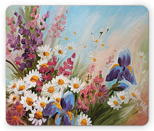 Bestsock Gaming Mouse Mat/Pad, Flower Mouse Pad, Colorful Tulips with Green Leaves in Keukenhof Gardens Painting Style Artwork Image, Standard Size Rectangle Non-Slip Rubber Mousepad, Multicolor