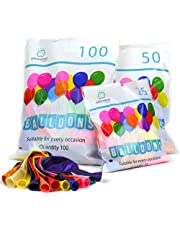 Party Balloons Premium Assorted 12 Inch Latex Multicoloured Packs of 25 50 100 Quality Bright Metallic Balloons Suitable for Birthday Parties, Weddings, Anniversaries and Celebrations