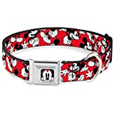 """Buckle-Down Seatbelt Buckle Dog Collar - Mickey Mouse Poses Scattered Red/Black/White - 1"""" Wide - Fits 15-26"""" Neck - Large"""