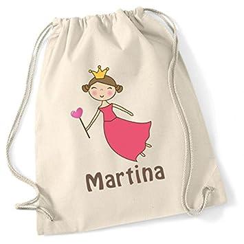 Mochila de algodón personalizada. Modelo Princesa Corazón: Amazon.es: Equipaje