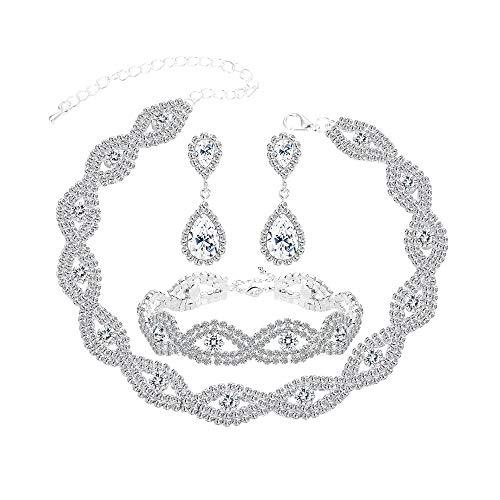 JOERICA Bridal Choker Jewerly Set for Women Girls Silver Bridesmaid Wedding Rhinestone Choker Bracelet and Earrings Set with 5 Pcs Bridal Headband Set