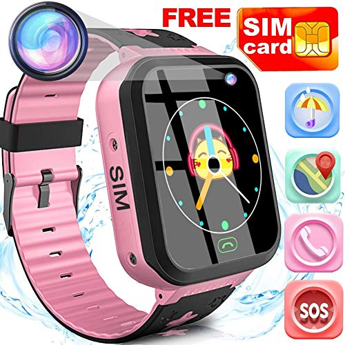 Kids Smart Watch Phone with Free SIM Card Outdoor Waterproof Activity GPS Tracker for 3-14 Girls Boys 1.44' Touch Screen 2 Way SOS Call Sport Watch Camera Voice Chat Anti-Lost Wristband Birthday Gifts