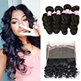 Mink Hair Loose Wave with 360 Frontal (18 20 22+16) 7A Grade Brazilian Loose Wave Bundles Virgin Human Hair Extensions with 360 Free Part Lace Frontal Closure Natural Color