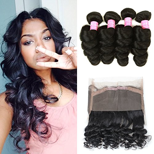 Mink Hair Loose Wave with 360 Frontal (18 20 22+16) 7A Grade Brazilian Loose Wave Bundles Virgin Human Hair Extensions with 360 Free Part Lace Frontal Closure Natural Color by Mink Hair