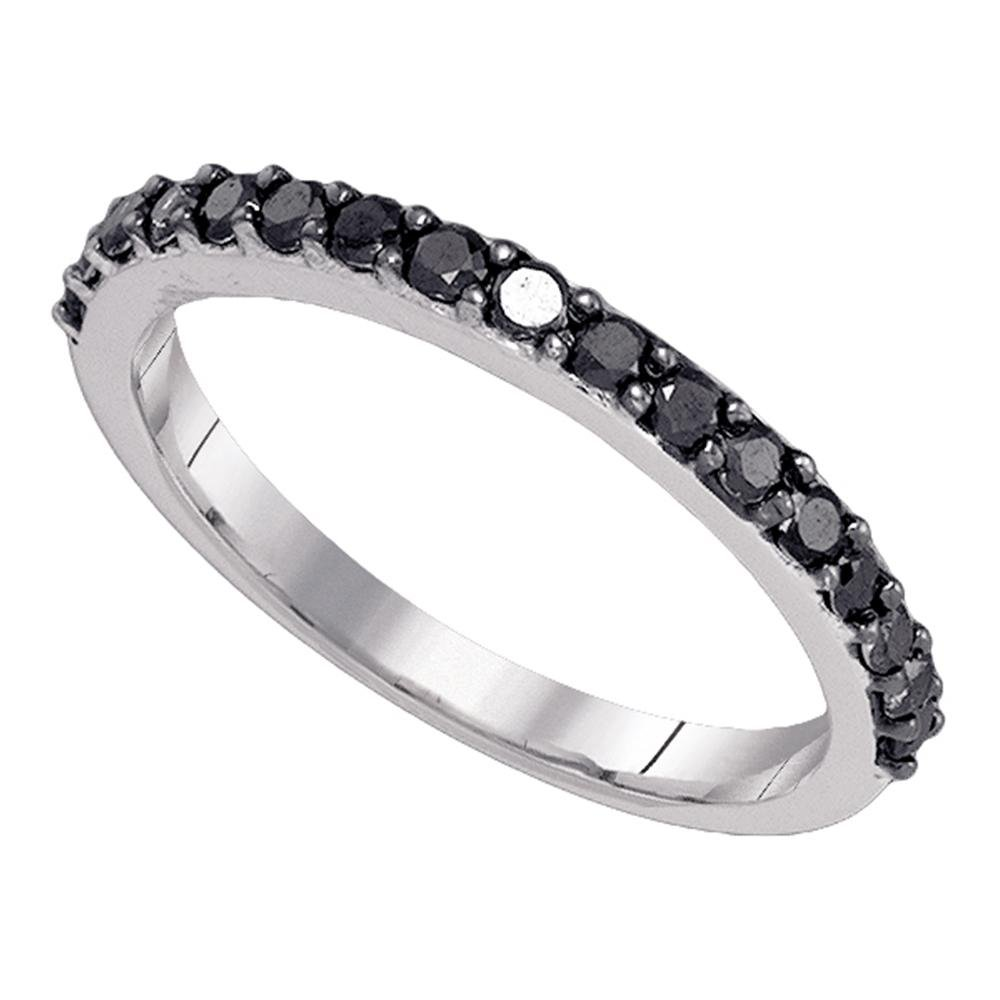 Black Diamond Wedding Band Solid 10k White Gold Semi Eternity Ring Stackable Style Round Pave Set 1/2 ctw