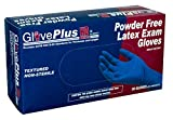AMMEX - GPLHD84100-BX - Heavy Duty Latex Gloves - Disposable, Powder Free, Indrustrial, 12 mil, Medium, Blue (Box of 50)